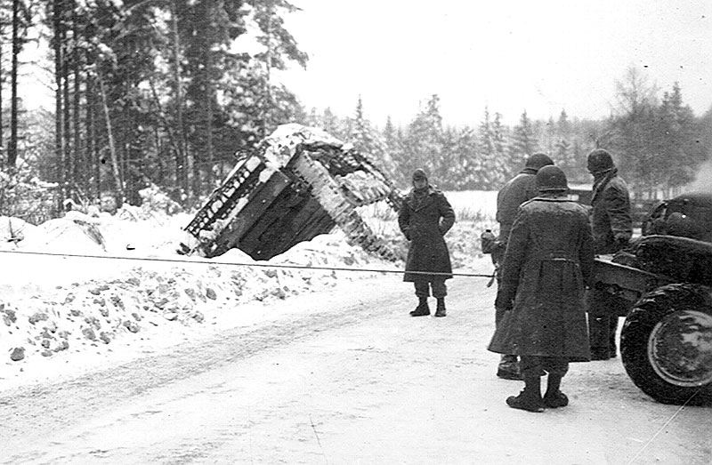German tank damaged in the Battle of the Bulge