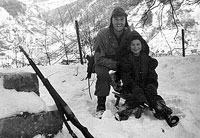 In the snow during Battle of the Bulge, Randy Hanes and Michelle, 1944