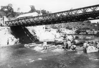 Co B constructing the footers for a Candol Bridge