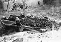 A wrecked German halftrack