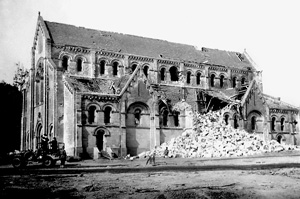 Church badly damaged by Allied bombing, most likely in Normandy, France
