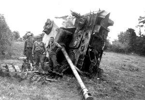 A destroyed German tank in Normandy