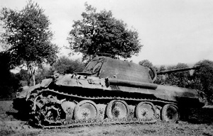 Damaged German tank likely in France