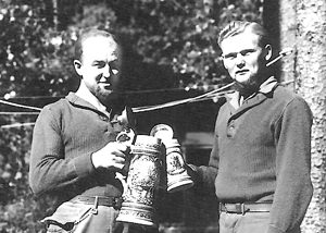 Pows in Germany nicknamed Fritz and Hans with steins, now in Arkansas
