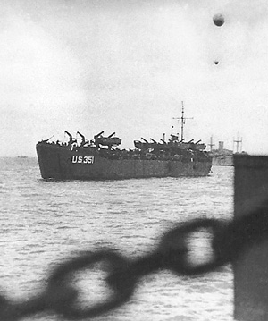Invasion photo of LST 351 taken from LST