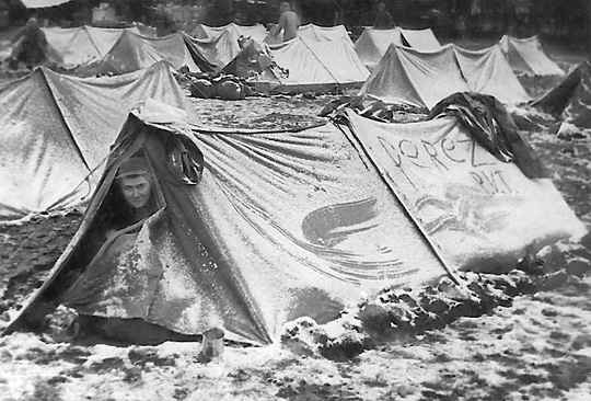 Pvt. Perez in his tent in Swindon, England