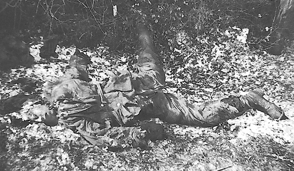 Dead German soldier in Normandy after the invasion