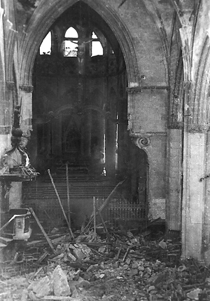 The sancuary of the large church in St Lo after the invasion