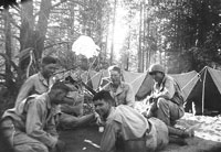 July 1943, Le Pine, Ore, Charles Olive and buddies relaxing