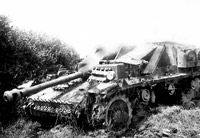 Badly damaged German tank, most likely in France