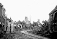 Allied bombing destroyed town most likely in Normandy, France