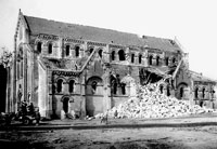 Church badly damaged by Allied bombing most likely in Normandy, France