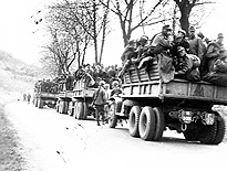 Captured Germans in a 6x6 truck