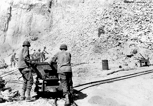 Battalion operating a rock quarry