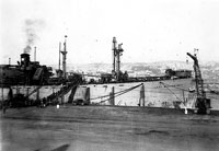 Victory ship Levi Woodbury being loaded