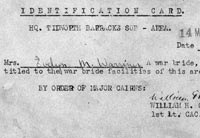 War Bride Identification Card
